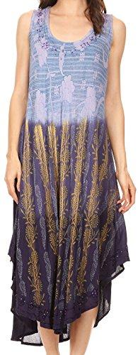 Sakkas 86458 - Alicia Ombre Vine Print Batik Kleid/Cover mit Sequins und Stickerei - Navy - OS