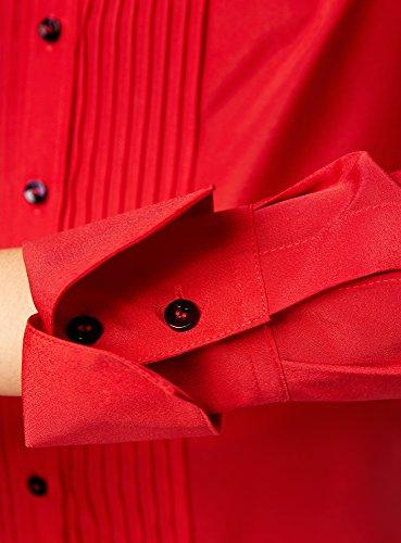 oodji Collection Donna Camicetta Larga con Cuciture Decorative sul Petto Rosso (4500N)