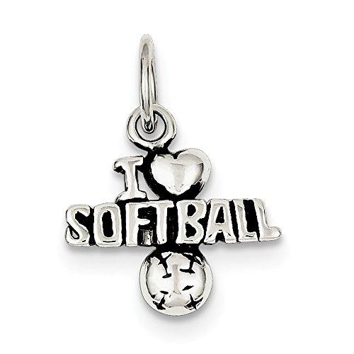 Softball Sterling Silber Charme (Sterling Silber Antik Ich Herz Softball Charme)