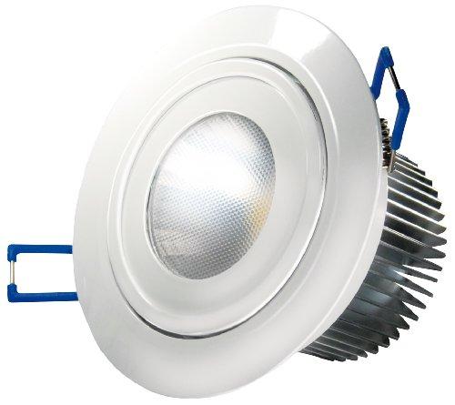Transmedia LED-Einbaustrahler 230 V/9.5 W, 570 lm, Deckeneinbau, 30 Grad, CRI/RA: 80, dimmbar, Durchmesser 108 x 68 mm, warmweiß, 3000K, weiß LPE4L