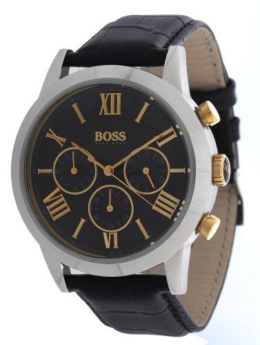 1512729 Hugo Boss Men's Watch Quartz Chronograph Black Dial Black Leather Strap