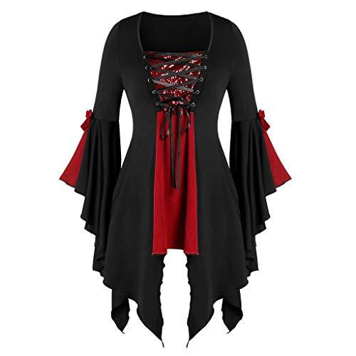 Große Größe Bluse T-Shirt Top Damen, Adamoka Platz Kragen Floral Lace Up Patchwork Bänder Gothic Kleidung Langarm Spitzen Shirt Mit Stehkragen -