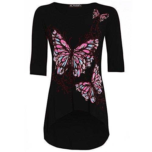 Damen Tunika Oberteil 3/4 Ärmel Schmetterling Aufdruck Große Größe Black - High Low Print Jersey Viscose Stretch