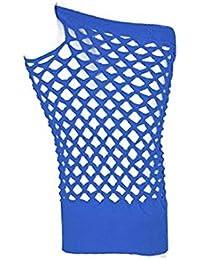 Pair Of Royal Blue Fingerless Short Fishnet Gloves