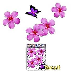 Frangipani Plumeria Kleine rosa doppelte Blume + Schmetterling Tier Pack Auto Aufkleber - ST00024PK_SML - JAS Aufkleber