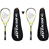 2 x Dunlop Nanomax Lite Squash Rackets + 3 Squash Balls and Covers RRP £155