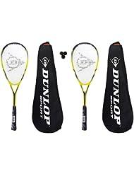 Dunlop Biotec Titanium - Juego de 2 raquetas de squash, incluye 3 pelotas de squash y funda
