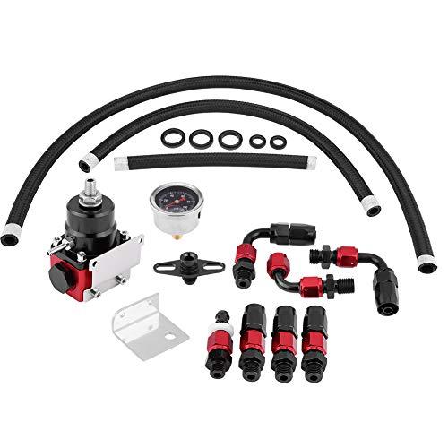 KIMISS Universal Einstellbarer Kraftstoffdruckregler Kit Öl 0-100psi Gauge AN 6 Fitting End
