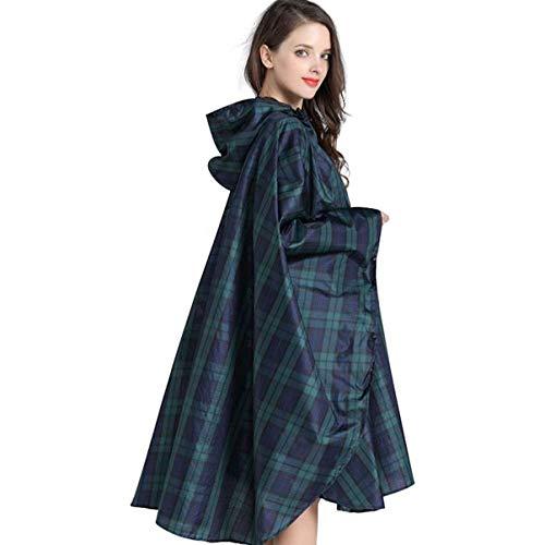 YOOJOOK Mode Frauen grün Karierten Licht Mantel Regenmantel codiert Poncho Poncho Wasser Anzug Single Wandern tragbaren Regenmantel (Color : Green, Size : F)
