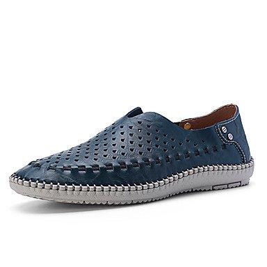 Azul Ocasional Homens Verão Caqui Conforto Sandálias Azul Marrom Couro CqTAw0z