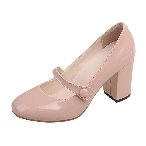 YE Damen Mary Jane Pumps Blockabsatz Lack High Heels Halbschuh mit Schnalle Süß Schuhe