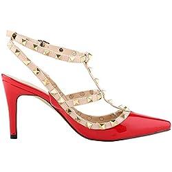 Arc-en-ciel Damenschuhe Schnalle verzierte spitze Zehe High Heel Sandalen-rot-US11