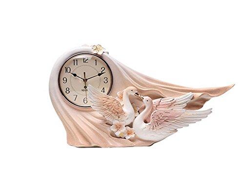 T-FBW Kaminuhr tischuhr europäischen stil stummer wohnzimmer Swan desktop uhr kreative schlafzimmer dekoration uhr (Farbe : Pink)
