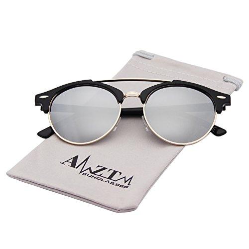 AMZTM Doppelbrücke Halbrand Klassisch Retro Polarisiert Verspiegelt Rund Sonnenbrille Damen Herren (Silber, 51)