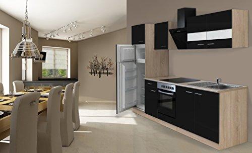 respekta Einbau Küche Küchenzeile 270 cm Eiche Sonoma Sägerau Schwarz inkl. Kühl- Gefrierkombi Ceran