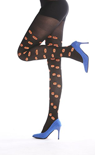 DRESS ME UP - W-015 Strumpfhose Pantyhose Damenkostüm Party Halloween schwarz Kürbisköpfe Kürbisse Jack O Latern S/M