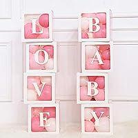 Qagazine 4Pcs/Set Transparent Balloon Boxes, Baby Shower Christening Birthday Party Decor