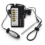 Anseke E-Stim Stimulation Accessoires Electro-Conductive Anneaux Pénis pour Homme Plug Acier Inoxydable avec Câble Électrique Stimulateur Massage