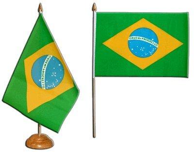 Tischflagge Tischfahne Brasilien - 15 x 22 cm - Die Brasilianische Holz-möbel