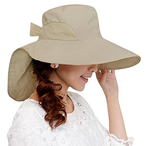 Korean Style Ladys Womens Summer Hat Flap Cover Cap Bow-knot Beachwear Summer UV Protection Sun Hat Large Brim Cap Visor Hats Sun Shade Hat with Neck