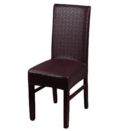 Tiunyeah Leder-Sitzbezüge aus PU-Kunstleder, wasserfest und ölfest, für Esszimmerstuhl braun