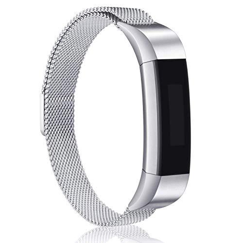 Golden Gate Now !!! Fitbit Alta Armband Alta HR Metall Bänder, Mailänder Edelstahl, verstellbares Ersatz-Zubehör für Fitbit Alta (HR) Fitness-Armband, bunt, Silber