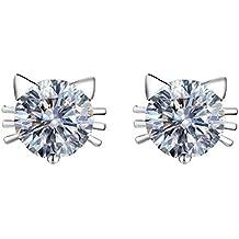 Kanggest Pendientes de Gato Moda Mujer Cristal Aretes Niña Pendientes para Mujeres de la Joyería Accesorios, 1 Par(Blanco)