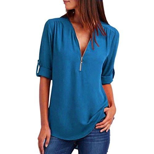 MORCHAN Mode Femmes Casual Tops T-Shirt Lâche Haut à Manches Longues Blouse  (XL 900423fca03d
