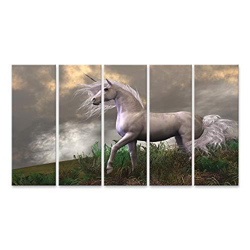 Bild Bilder auf Leinwand Weißer Einhornhengst - Wolken und Nebel umgeben einen schönen Einhornhengst mit weißem Fell. Wandbild, Poster, Leinwandbild PWZ