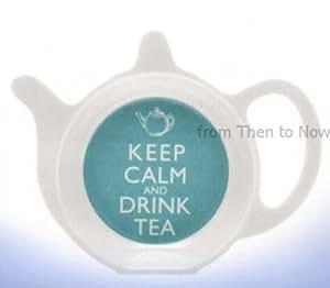 Keep Calm And Drink Tea Tea Bag Teabag Spoon Tidy Rest Holder Blue & White Melamine