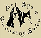 Crjzty Tienda de Mascotas Vinilo Tatuajes SPA Peluquería Perros Gatos Arte Mural Etiqueta de la Pared Salón de Mascotas Ventana de Vidrio Decoración de la habitación 55 * 63 cm