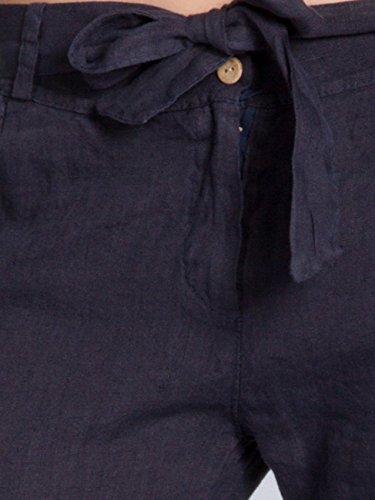 CASPAR KHS038 Pantalon dété en lin léger pour femme bleu foncé