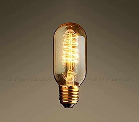 Vintage Industrial Edison Tungsten Filament Bulbs 40W/Screw E27/220v-RADIO VALVE SPIRAL FILAMENT/T45