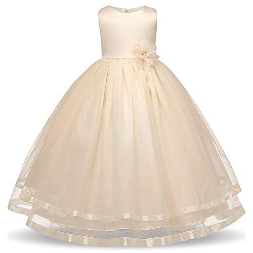 WAWALI Blumenmädchen Langen Hochzeitsfeier Pompöse Kleider 12 (Up Cinderella Kleidung Dress)