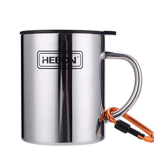 HEECN Doppelwandiger Campingbecher HESS-038BBK 450ml Mit Drehbarem Trinkdeckel