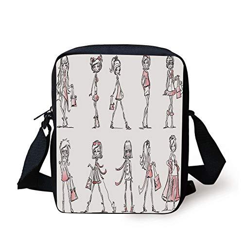 CBBBB Girls,Cartoon Girls with High Heel Shoes Glamour Fashion Urban Life Catwalk Style Picture Decorative,Pink White Print Kids Crossbody Messenger Bag Purse Accent High Heel