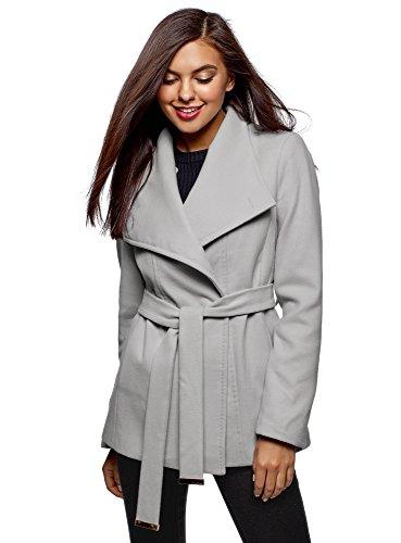 oodji Ultra Damen Mantel mit Asymmetrischem Verschluss und Weichem Gürtel, Grau, DE 38 / EU 40 / M