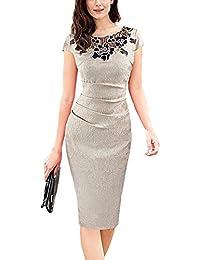6e26e8fa5583 U8Vision Elegante rosa girocollo pizzo cucitura abito business guaina abito  da sera vestito da partito abito