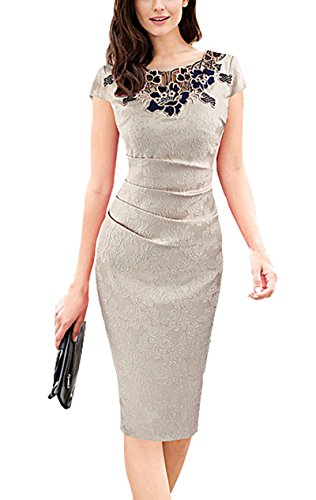 U8vision elegante rosa girocollo pizzo cucitura abito business guaina abito da sera vestito da partito abito da cocktail s-xxxl (beige, l)