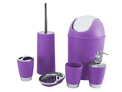 SQ Professional Bathroom Accessory Set, Purple, 6-Piece