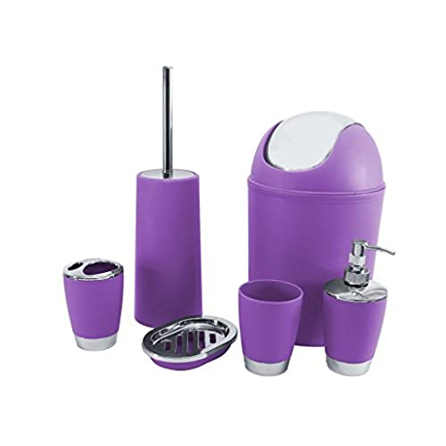 Genial SQ Professional Bathroom Accessory Set, Purple, 6 Piece