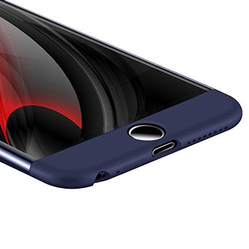 3 en 1 Coque iPhone 7 Case Étui,Sunroyal Ultra Thin Ultraslim PC Hybrid Hard PC 3 In 1 Set 360 Full Protection Rigide Housse Fin Mat Fine Mince Dur Plastique Coque Couverture Complète de Protection Am Bleu