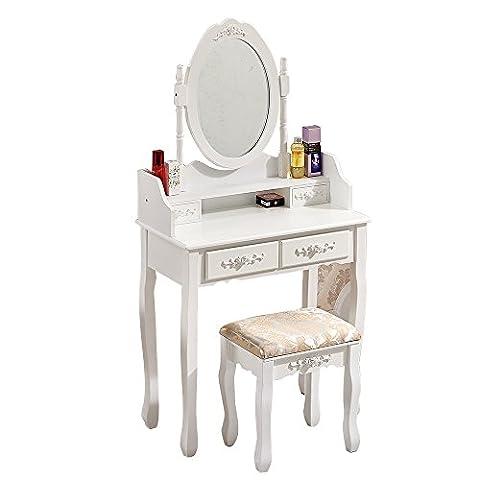 Ospi vintage Coiffeuse/coiffeuse Définit avec miroir ovale réglable, 4tiroirs et 1Tabouret de coussin–Blanc Couleur (4Drawers-)