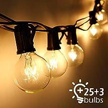 Cadena de Luces, Qomolo G40 Exterior Guirnalda Luces Con 25 Bombillas Y 3 Bombillas de