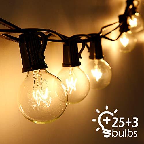 Lichterkette Außen Qomolo Lichterkette Glühbirnen Aussen G40 28er Birnen Garten Beleuchtung für Innen und Draußen mit Ersatzbirnen 9.5 Meter Warmweiß