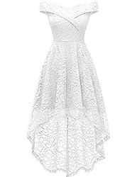HomRain Damen Elegant Vintage Schulterfrei Vokuhila Schwingen Pinup Cocktail Party Brautjungfernkleid Spitzenkleid White M