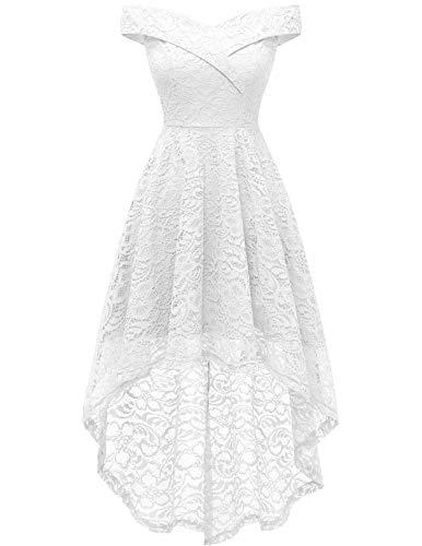 Homrain Robe Vintage Femme Elegante Pin up High Low Jupe Asymétrique pour Soirée Cocktail Bal Mariage Réunoin Fête White S