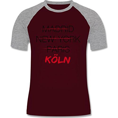 Shirtracer Städte - Weltstadt Köln - Herren Baseball Shirt Burgundrot/Grau meliert