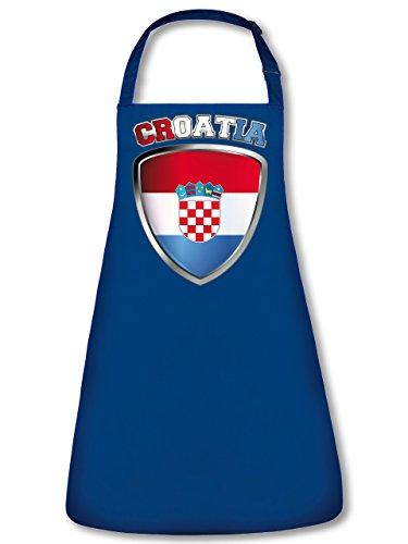 Golebros Kroatien Croatia Hrvatska Fan Artikel 4681 Fuss Ball Trikot Look Flagge Fahne EM 2020 WM 2022 Unisex Koch Latz Küchen Grill Schürze Blau