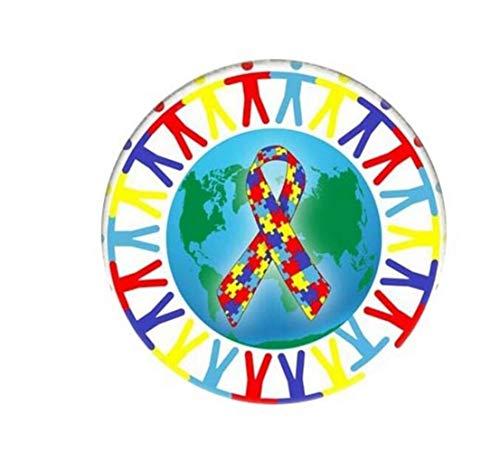 MEIDI Home Kreativer Autismus-Legierungs-runder Brosche Button Badge (bunt) Kreative reizende Abzeichen (Autismus-abzeichen)